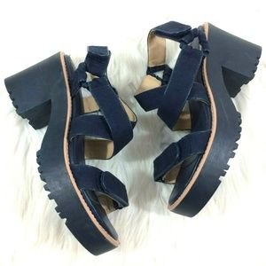 Zara Trafaluc Navy Blue Chunky Platform Sandals